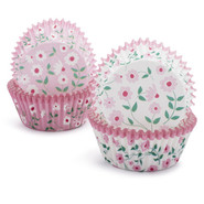 Pink Floral Bake Cups, Set of 48