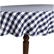 Blue &amp; White Checked Tablecloth, 70  round