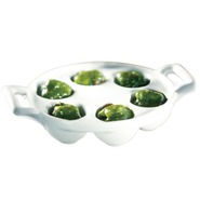 Belle?? Cuisine Porcelaine Escargot Plate, 6 Hollo