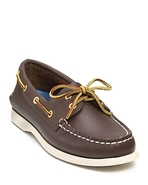 A/O 2-Eye Lace Leather Boat Shoes