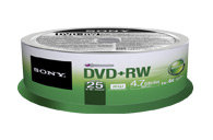 DVD+RW Rewritable DVD Media - 25 Pack 25DPW47SPM