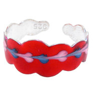 Sterling Silver 925 RED SCALLOPED No. 7 Hand Paint