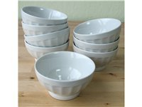 Set of 8 Latte Bowls, White
