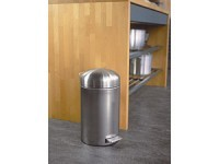 12-L. Retro Bin Step Can, Matte Stainless Steel