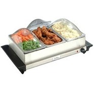 TBS-3SP Triple Buffet Server with Plastic Lids 25.