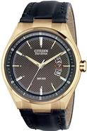 Eco-Drive Gold-Tone Leather Mens Watch AW1133-06H