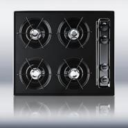 24  wide cooktop in black, with four burners and b