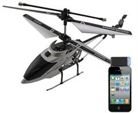 Silver Mini Helicopter Controlled by iPhone, iPod