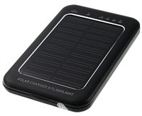 Solar Charger With Flashlight For Cell Phone - Bla