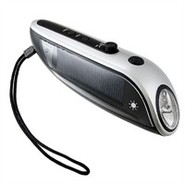 Solar Hand Crank Flashlight With Radio And Backup