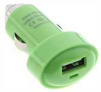Green USB Car Charger Cigarette Lighter Adapter