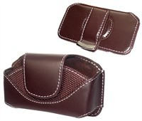 Brown Horizontal Leather Carrying Case For Samsung