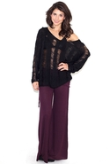 Rollover Waist Flare Pant in Eggplant - Eggplant -