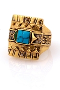 Cushion Cocktail Ring with Turquoise - Gold - 6