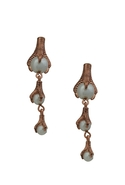 Rose Gold Triple Drop Talon Pearl Earrings - Rose