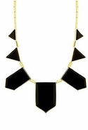 14K Gold and Resin Stations Necklace Gold/Black