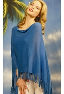 Fringe Ruana in Hawaii Blue One Size Fits All