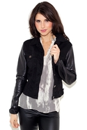 Overdye Jean Jacket with Leather Sleeves - Black -