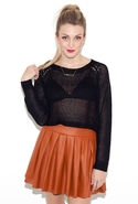 Com-pleatly Leather Skirt - Burnt Orange - Medium