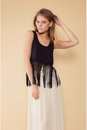 SALE-MinkPink Bad Moon Rising Fringe Tank - Black 