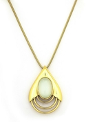 Teardrop Pendant Necklace - Gold with White