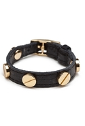 Single Wrap Screw Bracelet - Black with Gold