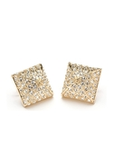 Pave Pyramid Stud Earrings - Silver