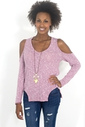 SALE-LnA Carmen Cut Out Sweater - Heather Pink - L