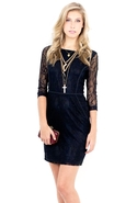 SALE-Costa Blanca Lace Styleline Trim Dress - Blac