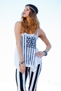 Winnie Flag Triangle Front Draped Tank - White - M