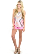 7 For All Mankind Cut Off Neon Shorts in Neon Pink