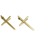 Skinny Cross Earrings - Gold