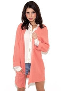 Ark & Co. Long Sleeve Cardigan in Baby Coral - Bab