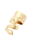 Faceted Metal Stone Finger Ring - Gold - 6