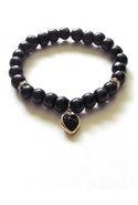 Bijouterie Wood Heart Bracelet Black