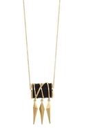 Black Enameled Dagger Pendant Necklace - Gold