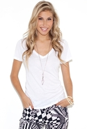 VNeck Tee in White Small