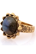 Pyramid Spike Ring with Labradorite Stone - Gold -