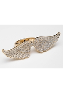 Pave Angel Wing Ring - Gold - 7