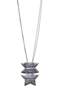 Tribal Geo Long Necklace - Silver
