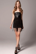 Leather Bodice Fringe Mini Dress - Black - Medium