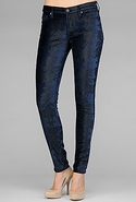 7 For All Mankind The Skinny in Petrol Velvet with