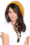 Cable Knit Slouchy Beanie in Mustard - Mustard