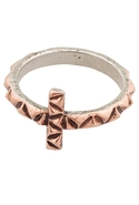 Faceted Metal Cross Ring in Rose Gold and Rose Gol