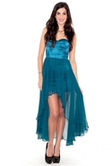 Sweetheart Chiffon Dress with Satin Bodice - Teal 