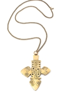 The Zelda Large Cross Necklace - Brass