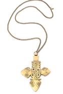 Vanessa Mooney          The Zelda Large Cross Necklace - Brass