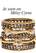Melinda Maria Oxidized Link Ring with White Diamon
