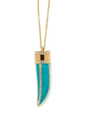 Glamour Turquoise Horn Necklace - Gold