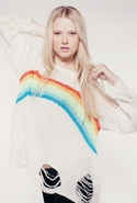 Wildfox Rainbow Dreamer Lennon Sweater in Eggshell